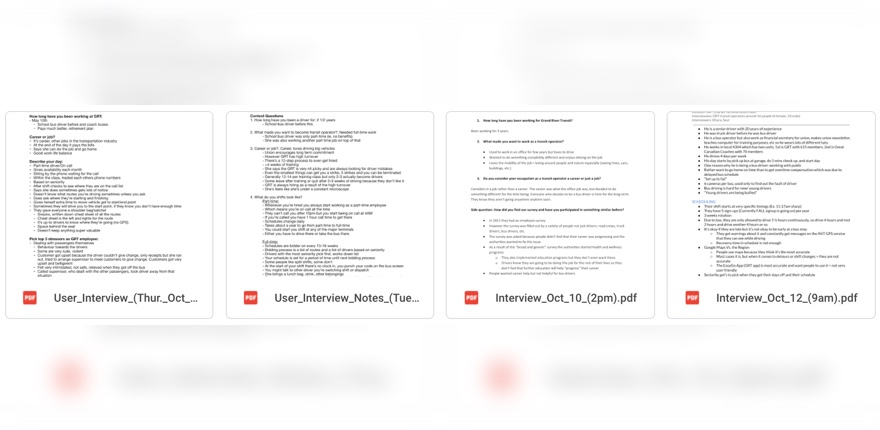 Photo of interview notes